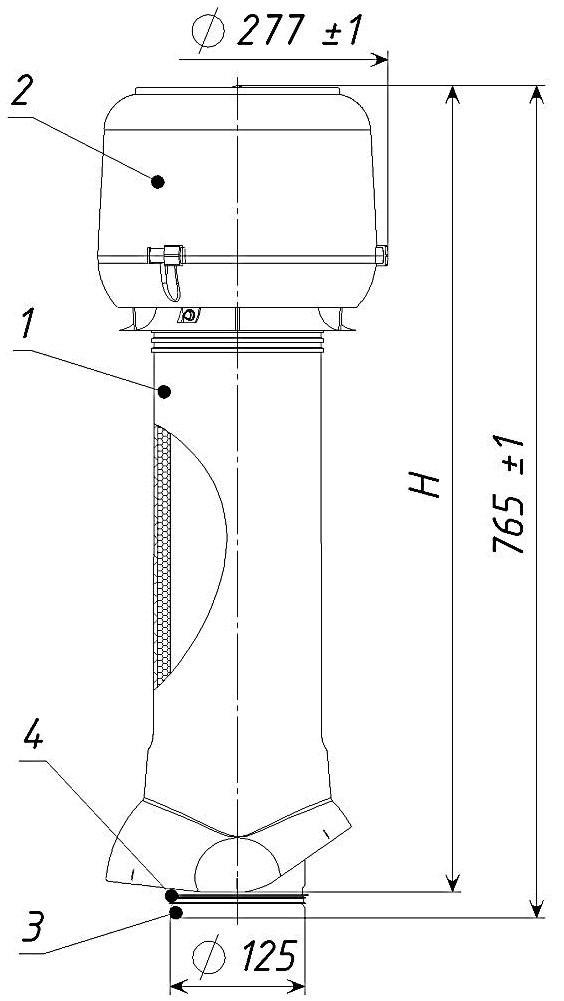 Вентиляционный выход ТР-85.125/160/700 (с утеплителем) красный